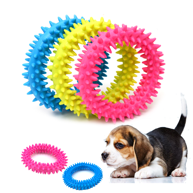 Quality Rubber Dog Toothbrush Toys Dogs Cleaning Teeth Biting Toy Pet Products Dog Chewing Molar Ring TPR Cat Puppy Biting Toys image