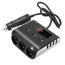 3-Sockets Cigarette Lighter Splitter,100W 12V/24V Car Power DC Outlet Adapter with 3.6A 4 USB Charging Ports Car Charger(China)