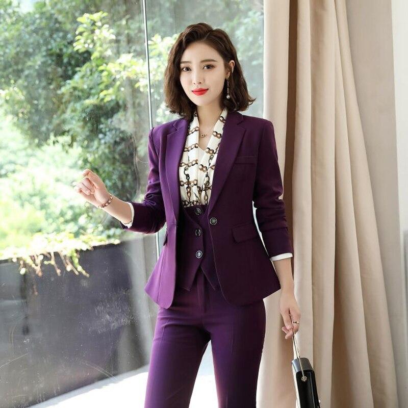 IZICFLY New Style purple 3 piece suit women trouser waistcoat and blazer set Office Uniform Elegant Business pant suit with vest