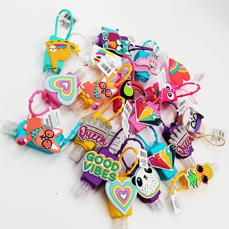 30ML Cartoon Silicone Mini Hand Sanitizer Disposable No Clean Detachable Cover Travel Portable Safe Gel Holder With Hang Rope