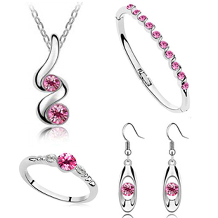 Fine Jewelry 925 Sterling Silver For Ladies Wedding Four-piece Rose Red Crystal Set Necklace Earrings Bracelet Ring Set Yw030