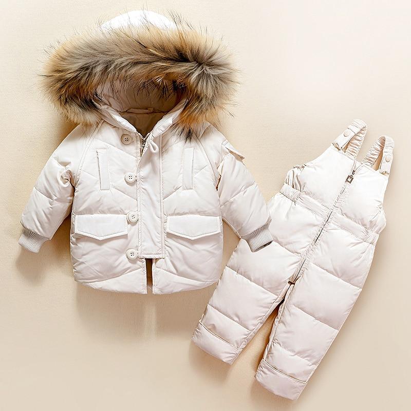 Зимний комплект одежды для маленьких девочек, теплая куртка на утином пуху с капюшоном + брюки, водонепроницаемый комбинезон, детская одежд...