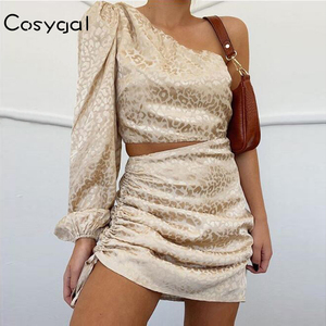 COSYGAL Hollow Out Club Mini Dress Sexy One Shoulder Print Party Dresses Short Celebrity Summer Dress Women Clothes Robe 2020(China)