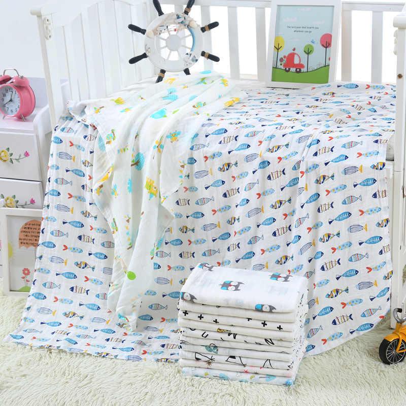 1 Pza muselina 120*110CM algodón bebé Swaddles suave recién nacido mantas gasa para el baño envoltura infantil saco cochecito cubierta Play Mat