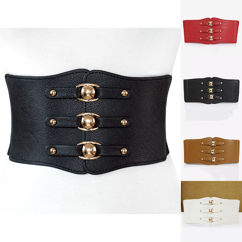 Vintage New Fashion Faux Leather Wide Belt Strap Women Elastic Waistband Buckle Elastic Wide Belt Strap Solid Dress Accessory