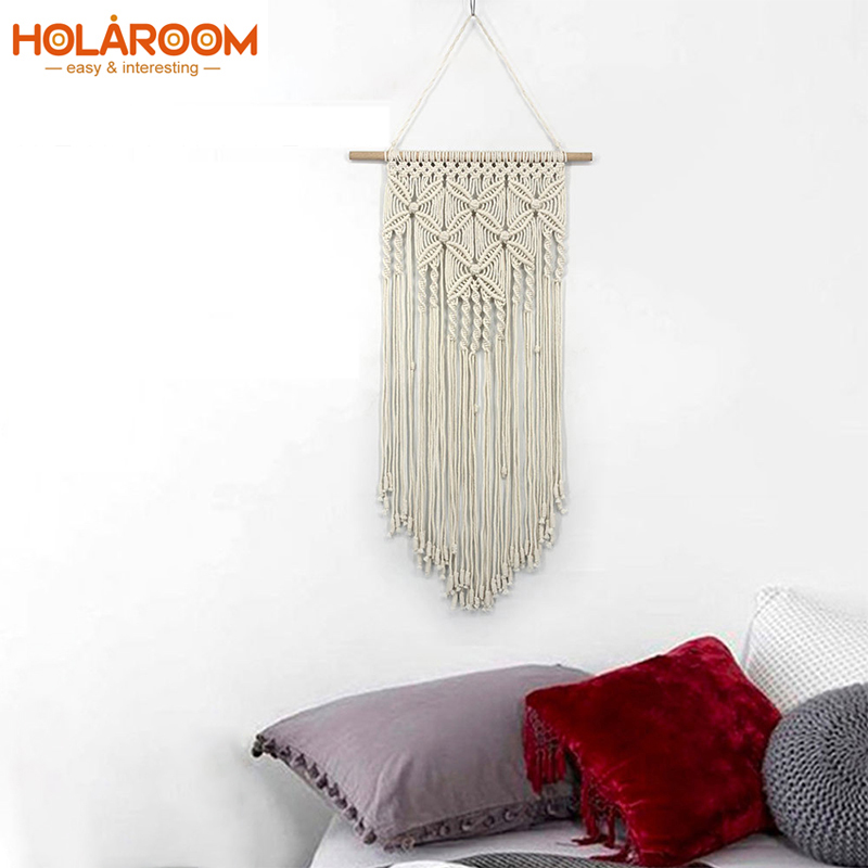 Macrame Tapestry Wall Hanging Tapestries Woven Artwork Boho Macrame Wall Cloth Cotton thread with Wooden Stick Xmas Home Decor
