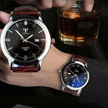 Fashion Wristwatch Man Leather Band Calendar Date Analog Quartz Waterproof Wrist