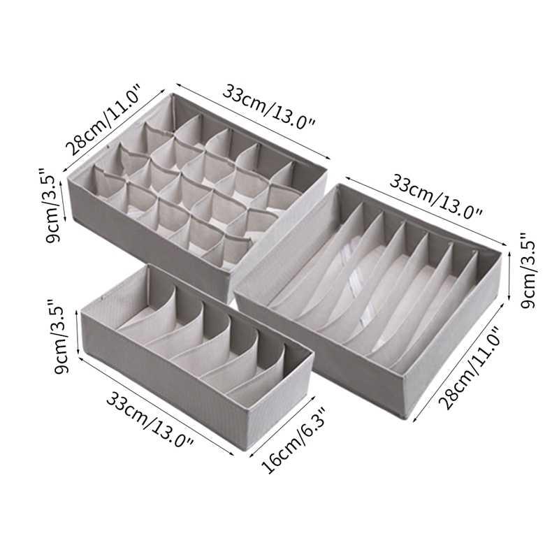 3 stücke Hause Unterwäsche Lagerung Faltbare Lagerung Boxen Kleidung Atmungsaktive Lagerung Schublade Organizer Closet Organizer Boxen Socken