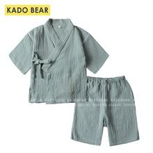 Çocuk japon Kimono pijama seti bebek erkek kız yaz pijama çocuklar Kimono pamuk ev pijama takım elbise iç çamaşırı giyim