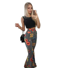 Adogirl sensual sleeveless printing two pieces sets female black tank top long flare pants flower pattern casual bohemian set