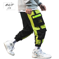 RLJT.JIN 2019 New Fashion Baggy Pants Men Pantaloni Hip Hop Pocket Streetwear Joggers Pantalon Jogger Hombre Ribbons Casual