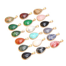Natural Stone Pendants Rose Quartzs 18 Colors Water drop shape Fashion Necklace Pendant for Jewelry Making Diy Gift Accessories