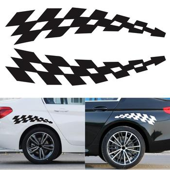 Racing Stickers Vehicle Car Decals Wheel Eyebrow Checkered Flags Safety Reflector Vinyl Stickers Prevention for Audi BMW Jeep image