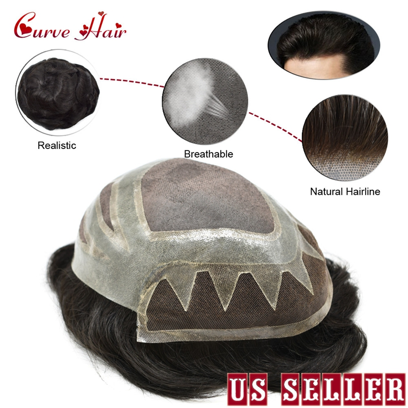 All Handtied Human Hair Toupee For Men 120% Light To Medium Density French Lace Front Remy Hair System Skin Hairpiece