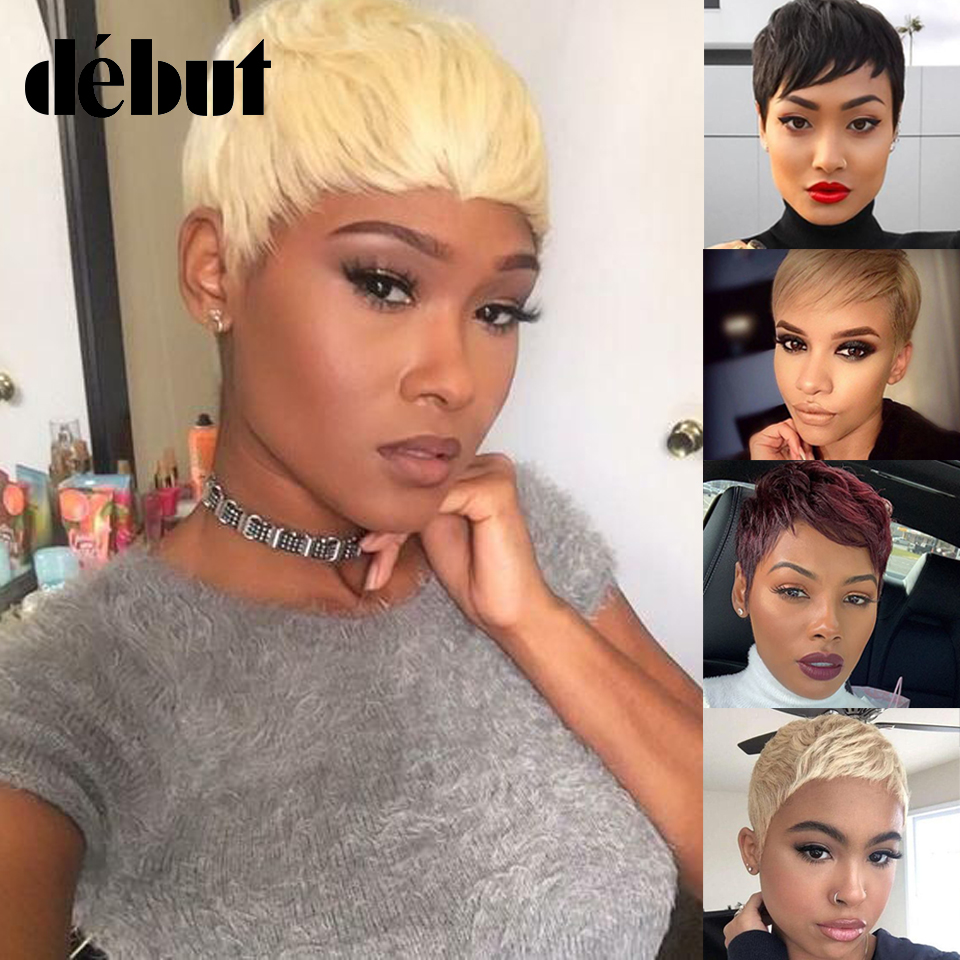 Debut Brazilian Remy Short Bob Human Hair Wigs For Black Women Blonde Wigs Human Hair 613 Ombre Short Straight Human Hair Wigs