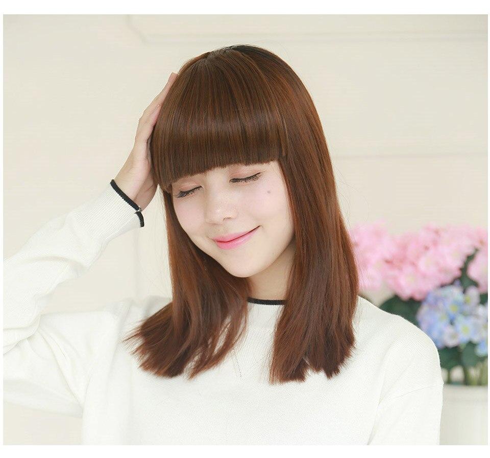 SARLA волосы челка клип в подметание боковая бахрома поддельные накладные взрыва натуральные синтетические волосы кусок волос черный коричневый B2
