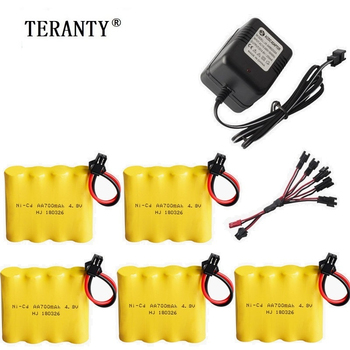 ( SM Plug ) 4.8v Ni-cd Battery and Charger For Rc toys Cars Tanks Robots Boats Guns 4* AA 700mah 4.8v Rechargeable Battery Pack image