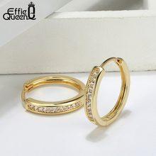 Efie Queen-pendientes de aro de circonia cúbica AAA para Mujer, aretes redondos de Color oro rosa, joyería caliente para Mujer, Oreja DOME34