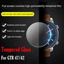 Vidro temperado ollivan para amazfit gtr 47, protetor de tela com borda completa capa 2.5d vidro