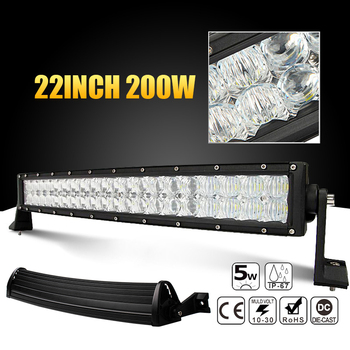 22 inch 200W Car LED Curved Worklight Bar 40x 5D Chips Combo Offroad Light Driving Lamp for Truck SUV 4X4 4WD ATV LED Light Bar