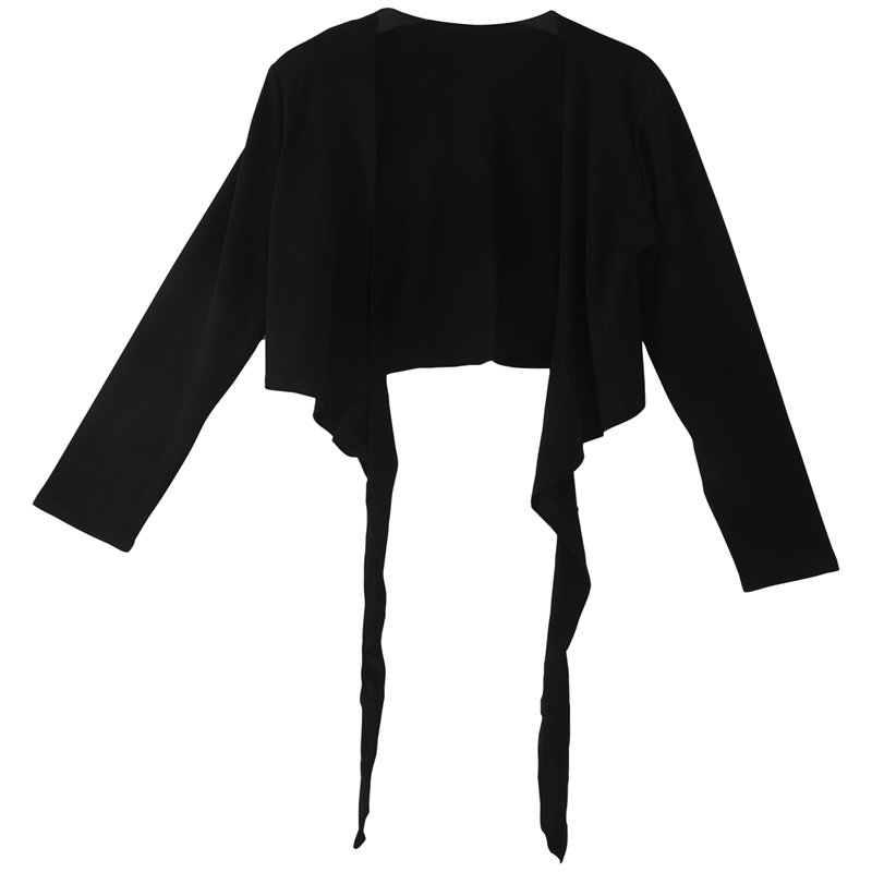 LADIES LONG SLEEVE TIE UP CROP SHRUG WOMENS WRAP BOLERO CARDIGAN TOP - Black