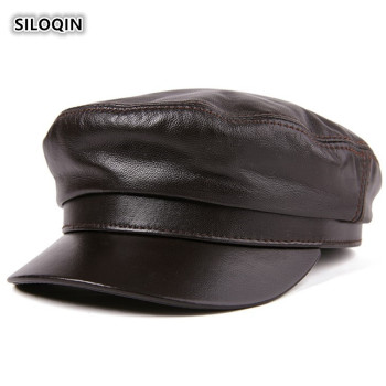 SILOQIN Trend Genuine Leather Hat Snapback Woman Autumn Winter High Quality Sheepskin Military Mens Flat Cap Bone Casquette