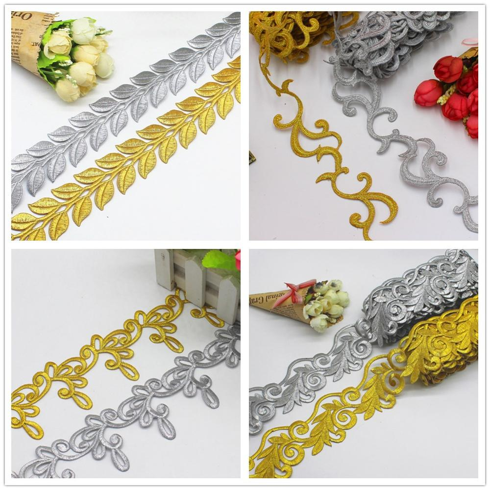 Золотые вышитые кружева, аппликации с помощью утюга, лента, кружевная отделка, оплетка, украшение, ширина 4 7 см|Кружево|   | АлиЭкспресс