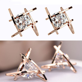 Geometric hollow square triangle zircon earrings 1