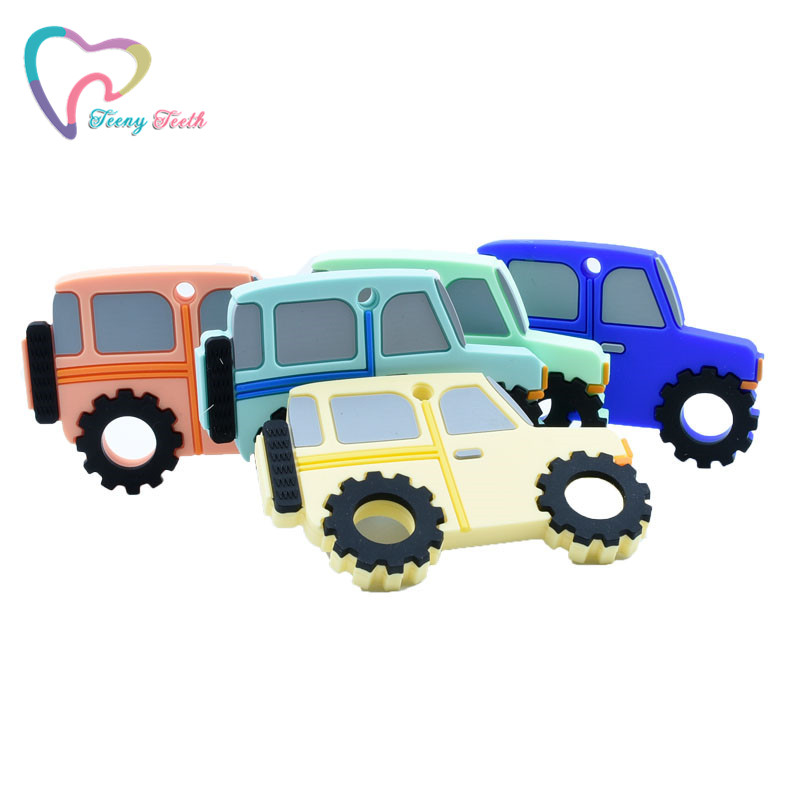 1 PC Newest Silicone Jeep Car Teether Baby Portable Shower Chewing Pendant Nursing Sensory Teething Pacifier Dummy Toys Gift