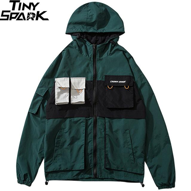 Retro Color Block Hip Hop Jacket Windbreaker 2019 Streetwear Harajuku Track Jacket Zipper Men Hooded Jacket Coat Pockets Fashion