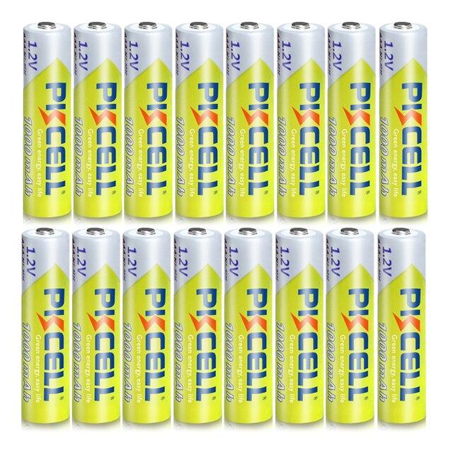 16 יח\חבילה PKCELL 1.2V 1000mAh NiMh AAA סוללה נטענת Ni mh 3A סוללות AAA Battria גבוהה באנרגיה לפנס צעצועים