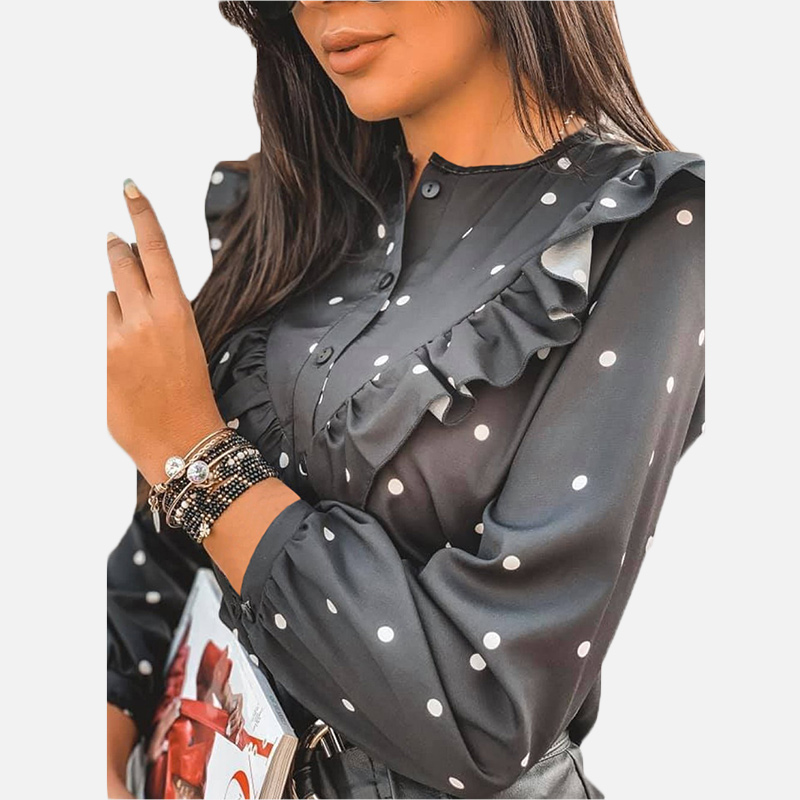 2020 Ruffle Polka Dot Print Women's Blouse O-neck Buttons Long Sleeve Blouses Female Spring Summer Casual Shirt Lady Clothes