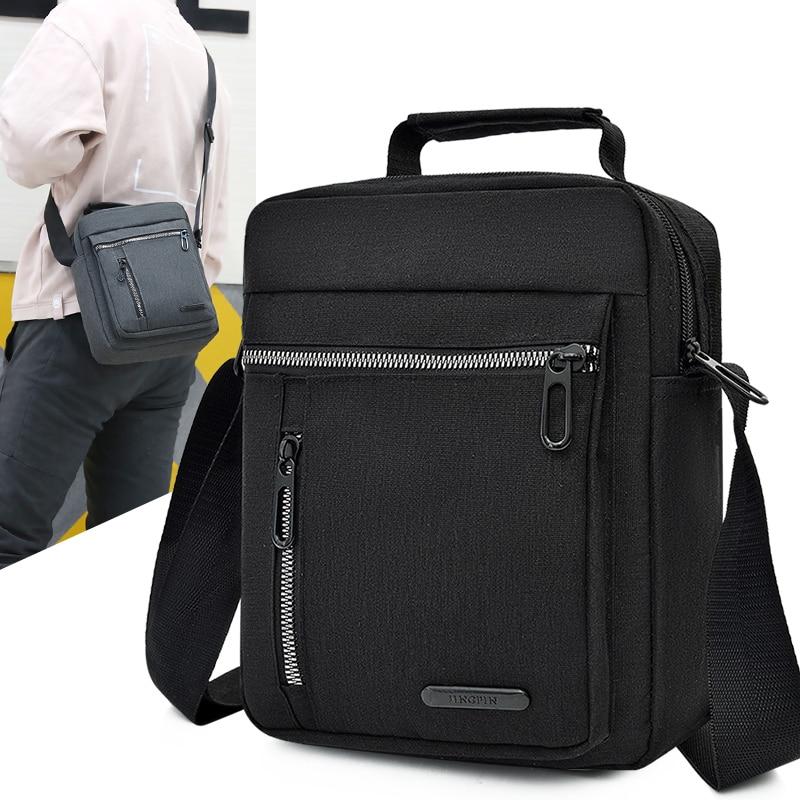 Men's Business Shoulder Black Diagonal Cross Bag Traveling Waterproof Convenient Zipper Oxford Cloth Handbag 25cm * 20cm * 8cm