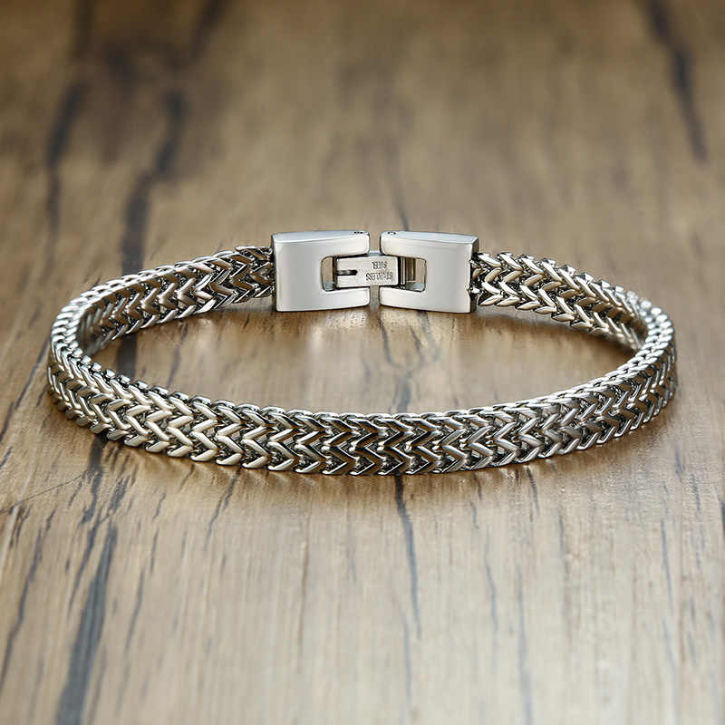 Double Rope Chain Mens Stainless Steel Bracelet Silver Polish Color Punk Biker Pulseira Masculina Jewelry 8.3""