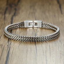 "Double Rope Chain Mens Stainless Steel Bracelet Silver Polish Color Punk Biker Pulseira Masculina Jewelry 8.3""(China)"