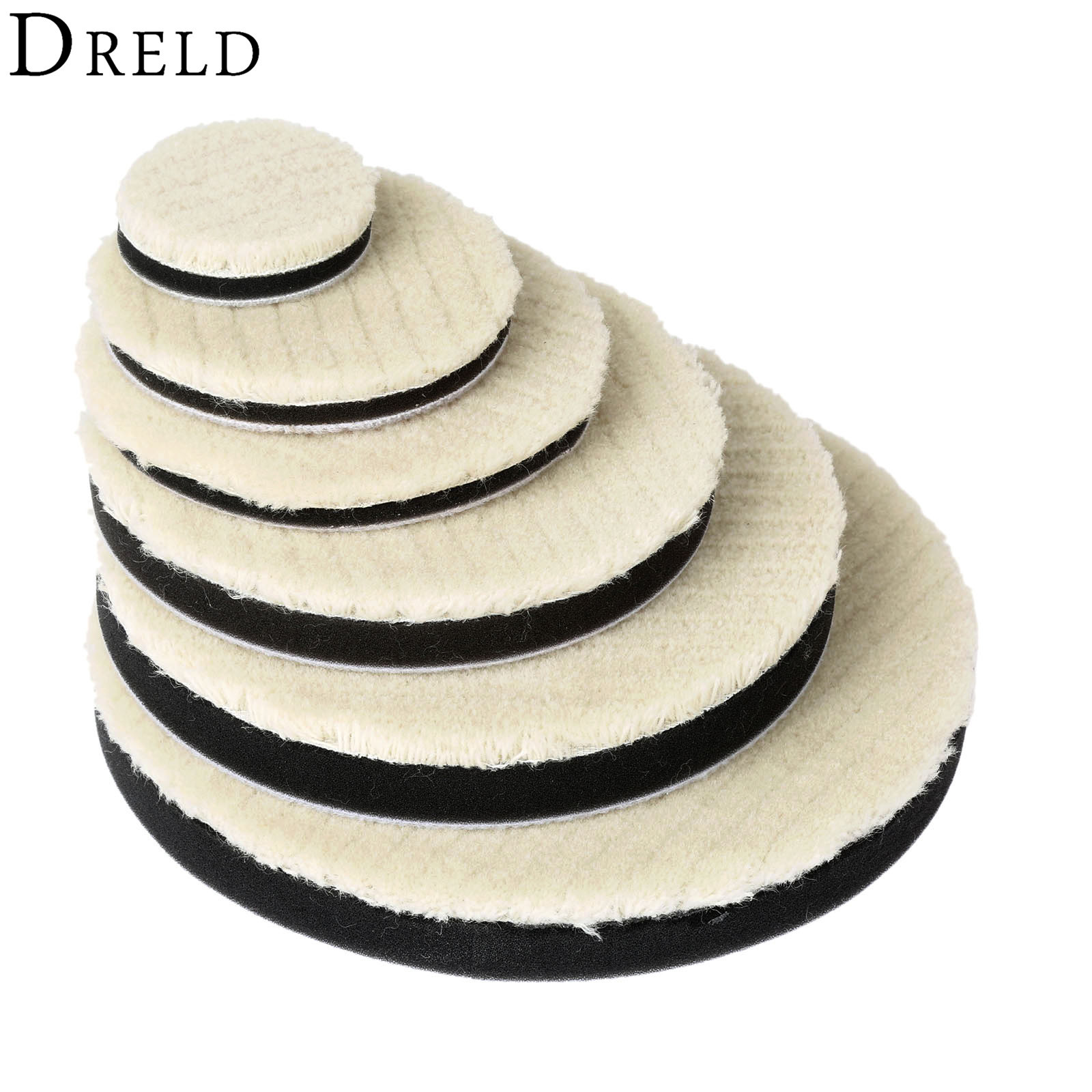 DRELD 2Pcs 2/3/4/5/6/7 Inch Woolen Polishing Pad For Car Polisher Waxing Buffing Grinding Polishing Wheel Disc For Care Cleaning