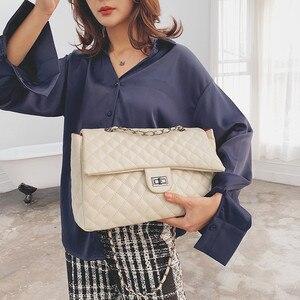 Image 5 - Classic Diamond Pattern Women Plaid Messenger Bag Big Square Female Shoulder Bags Rhombus Lattice Large Size Luxury Lady Handbag