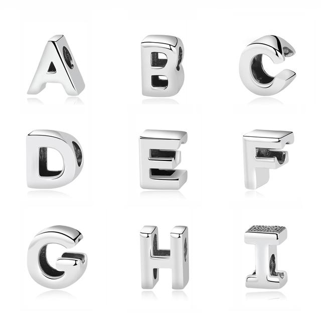 Original 100% 925 Sterling Silver Bead Charm A-Z 26 Letters Charms Alphabet Crown O Fit Pandora Bracelets Women Diy Jewelry