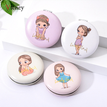 Vicney 2019 New Small Portable Makeup Mirrors Double Sides Stainless Steel Lovely Cartoon girl Cosmetic Mirror 1pcs