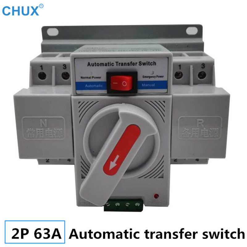 CHUX 2P 63A Dual Power Automatic Transfer <font><b>Switch</b></font> MCB type white color Rated voltage 230V 50/60Hz <font><b>ATS</b></font> Circuit breaker image