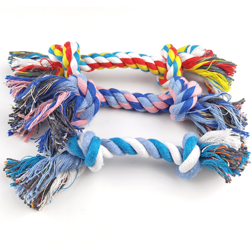 1 Pcs Dog Bite Rope Toys Pets Dogs Supplies Pet Dog Puppy Cotton Chew Knot Toy Durable Braided Bone Rope Funny Tool Random Color 7