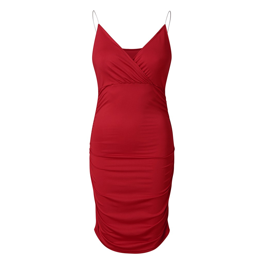 Deep V Neck Club Sexy Bodycon Dress Women Ruched Backless Cross Red Black Party Bandage Mini
