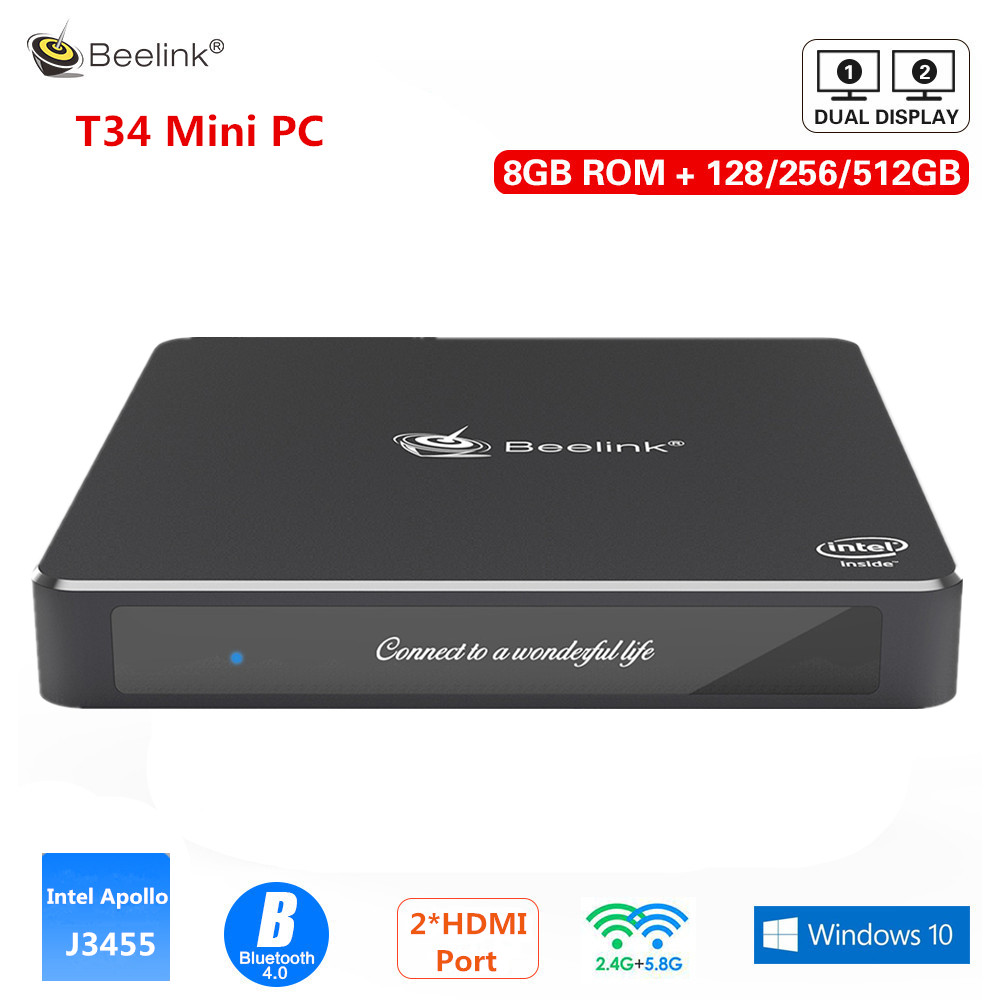 Beelink Gemini T34 Mini PC Intel Apollo Lake J3455 Mini PC Windows10 8GB 128/256/512 GB double écran d'affichage 2.4G/5.8G WiFi BT4.0