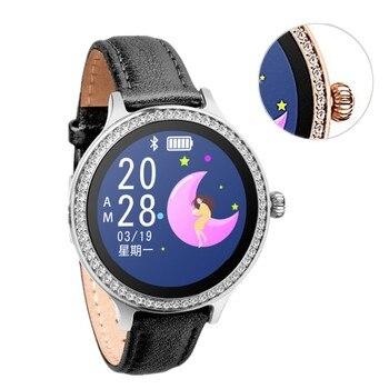 Diamond Women Watch Jewelry Round Heart Rate Monitor Bp Calorie Bluetooth Smart Wristband Lurxury Band Desinger Rose Gold Silver