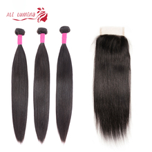 Ali Lumina Brazilian Remy Human Hair Bundles With Lace Closure Straight 4X4