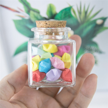 50ml Square Shape Packaging Bottle With Corks  Empty Glass Containers Gift Jewelry Seal Jars customization 6pcs