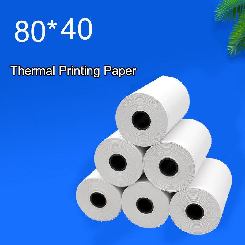 80x40mm 4PCS Thermal paper Receipt printer paper POS printer 80mm paper for Mobile POS mobile printer paper