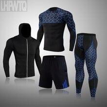 Bieganie 4 sztuk/zestaw dla mężczyzn odzież sportowa Fitness kompresja męskie dresy sportowe szybkie suche szkolenia zestawy odzieży sportowej oddychające rajstopy