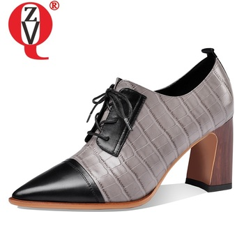 ZVQ spring new fashion women pumps outside high heels pointed toe genuine leather cross-tied office women shoes drop shipping