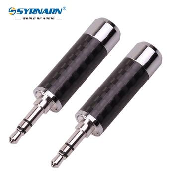 SYRNARN HiFi Copper Non Magnetic Rhodium Plated 3.5mm 3 Pole Stereo Jack Carbon Fiber Repair 3.5 Headphone Audio Plug Connector цена 2017